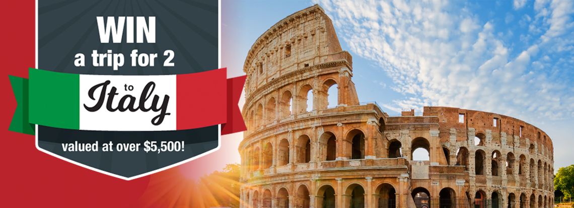 Win a trip for 2 to Italy